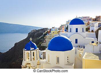 (oia), 教会, santorini, ギリシャ