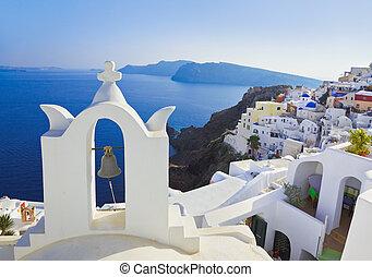(oia), 教堂, santorini, 希腊