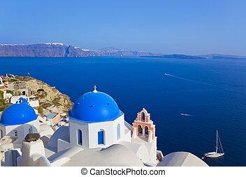 (oia), 教堂, santorini, 希臘