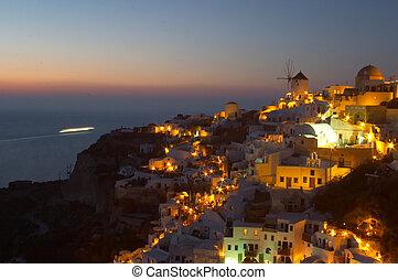 oia, 전통적인, 그리스어, 3, santorini, 마을