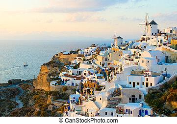 oia, aldea, en, isla de santorini, grecia