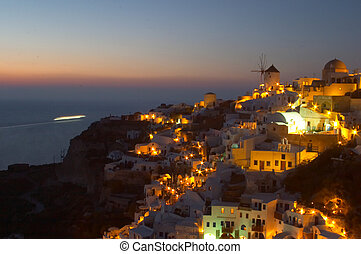 oia, hagyományos, görög, 3, santorini, falu