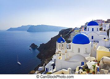 (oia), kyrka, santorini, grekland
