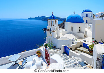 Oia, Santorini, Greece - White architecture of Oia village...