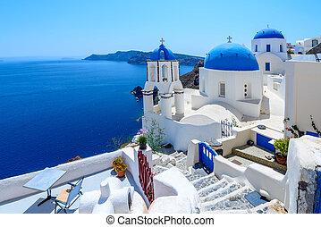 Oia, Santorini, Greece - White architecture of Oia village...