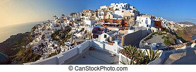 Oia village at Santorini, Greece - Panoramic view of Oia...