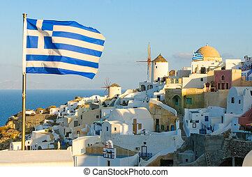 oia, villaggio, a, isola santorini, grecia