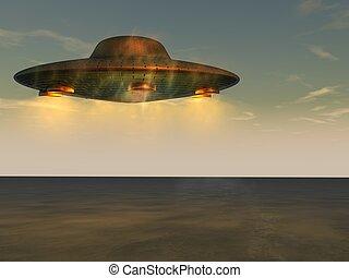 oidentifierad, flygning, -, objekt, ufo