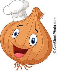 oignon, abandon, chef cuistot, pouces, heureux