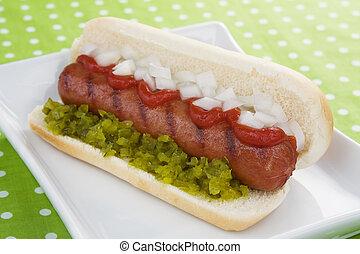 oignon, &, chien, ketchup, chaud, savourer