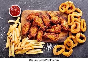 :, oignon, nourriture, frire, jeûne, anneaux, francais, poulet, frit, repas