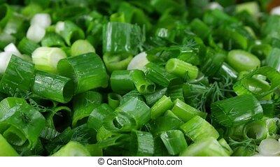 oignon, salade, ingredient., coupure, rings., vert