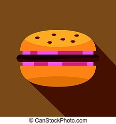 oignon, viande, chignon hamburger, petit pâté, rouges, icône
