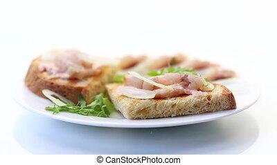 oignons, fond blanc, salade, isolé, plaque, hareng, herbes, sandwich