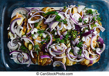 oignons, fromage crème, vegan, cuire, nourriture, dairy-free, plant-based, espagnol, pomme terre