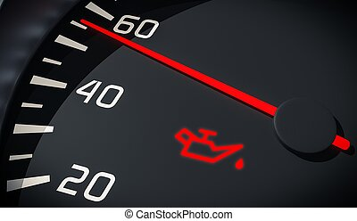 Oil and engine malfunction warning light control in car...