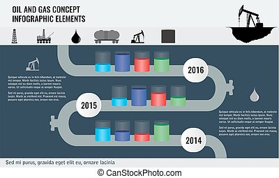 Oil and gas concept infographic design elements with pipeline road