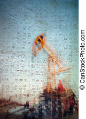 Oil and gas industry background. - Work of oil pump jack on...