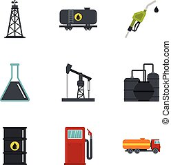 Oil and gas industry icons set, flat style