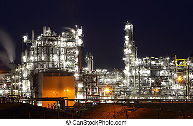 Oil and gas industry - refinery at twilight - factory -...