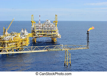 An oil and gas offshore platform in the Gulf of Thailand
