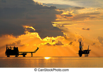 Oil and gas platform in offshore energy. The oil and gas is ...