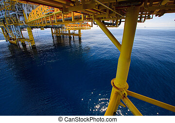 Oil and gas platform in offshore or Offshore construction, Exploration and production oil and gas industry.