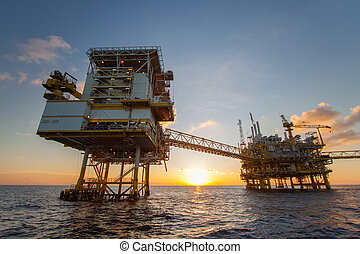 Oil and gas platform in the gulf or the sea, Offshore oil and rig construction Platform for production oil and gas.