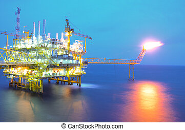Oil and gas platform in offshore energy. The oil and gas is world energy.