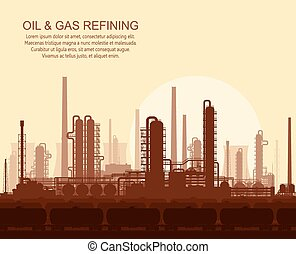 Oil and gas refinery at sunset - Oil and gas refinery or...