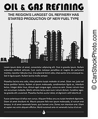 Oil and gas refinery or chemical plant silhouette.