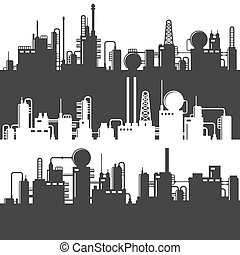 Oil and Gas Refinery Power Plant Silhouette. Vector Pattern Set