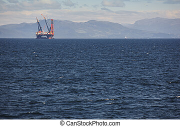 Oil and gas sea platform in Norway. Energy industry. Petroleum