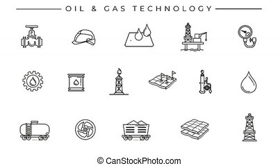 Collection of oil and gas line icons on the alpha channel. Icons have an animation appearing from 0 to 2 seconds and loops from 2 to 6 seconds.