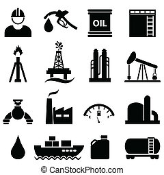 Oil and gasoline icon set - Oil, gasoline and petroleum...