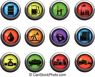 Oil and petrol industry icons set