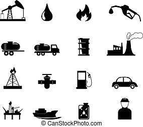 Oil and refinery industry icons set. vector illustration.