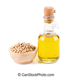 oil and soybean close up on white background