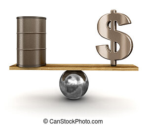 Oil barrel and dollar sign balanced on plank. Image with clipping path