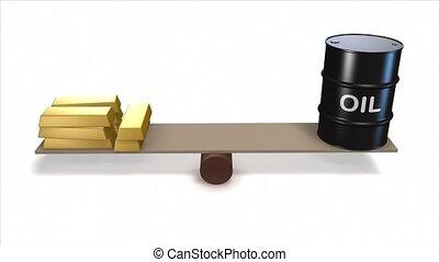 Oil barrel and gold ingots.