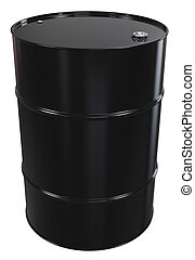 Oil Barrel. - Black Oil Barrel, Metal Lid. Isolated.