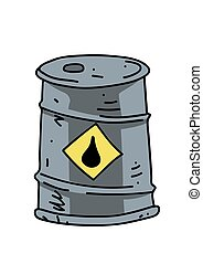 Oil barrel cartoon hand drawn image