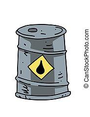 Oil barrel cartoon hand drawn image