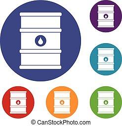 Oil barrel icons set