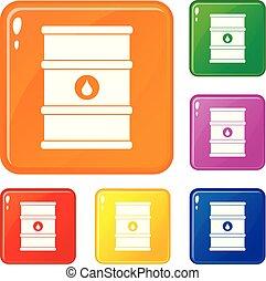 Oil barrel icons set vector color