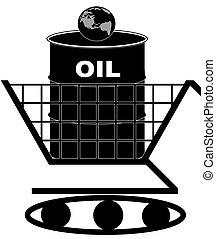 oil barrel in shopping cart
