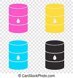 Oil barrel sign. CMYK icons on transparent background. Cyan, mag