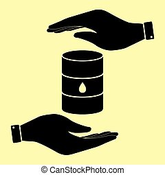 Save or protect symbol by hands. - Oil barrel sign. Save or...