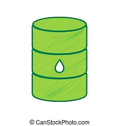 Oil barrel sign. Vector. Lemon scribble icon on white background. Isolated