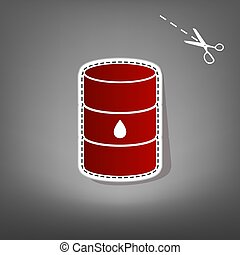 Oil barrel sign. Vector. Red icon with for applique from paper with shadow on gray background with scissors.